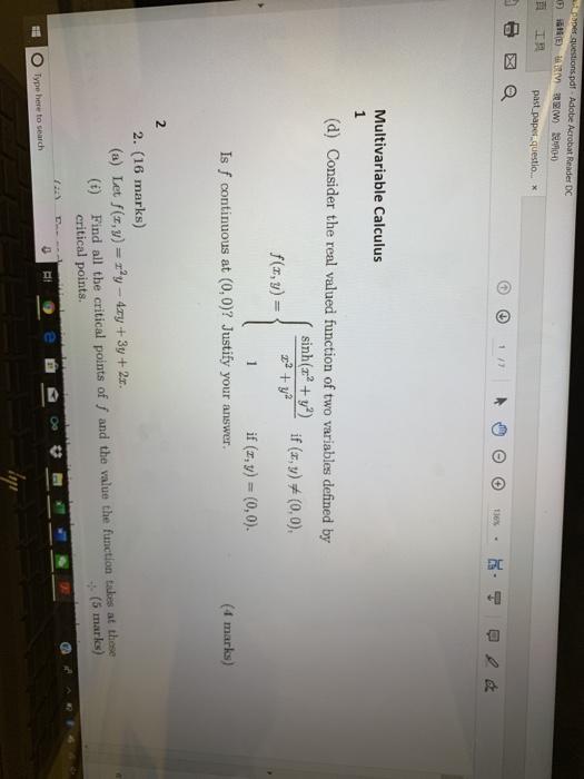 Solved: A3per Questions pdf- Adobe Acrobat Reader DC E) 4E