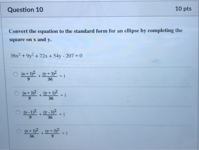 standard form 312  Solved: Question 8 8 Pts Convert The Equation To The Sta ...