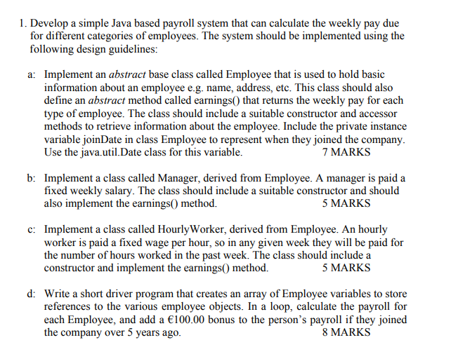 1 develop a simple java based payroll system that chegg com