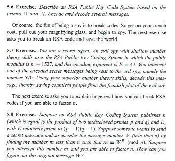 Solved: 5 6 Exercise  Describe An RSA Public Key Code Syst