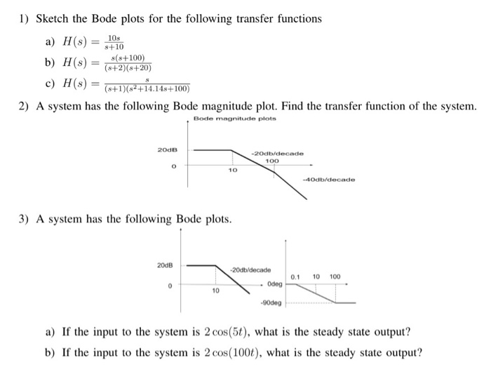 Solved: Sketch The Bode Plots For The Following Transfer F