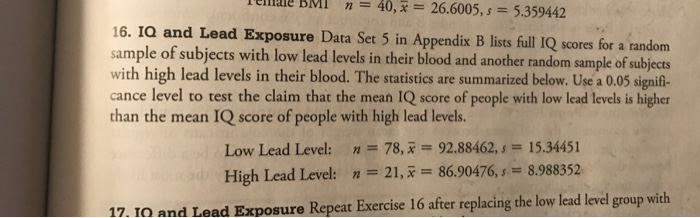 Solved: IQ And Lead Exposure Data Set 5 In Appendix B List