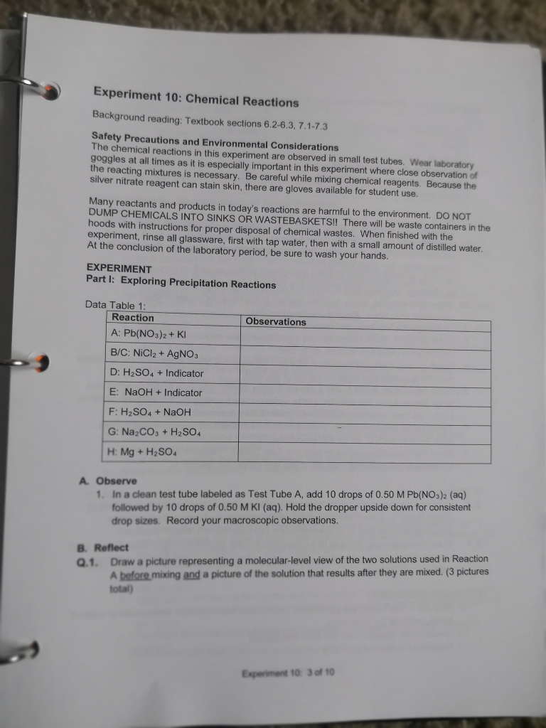 Solved: Pre-Lab Experiment: Chemical Reactions 1  Strong A