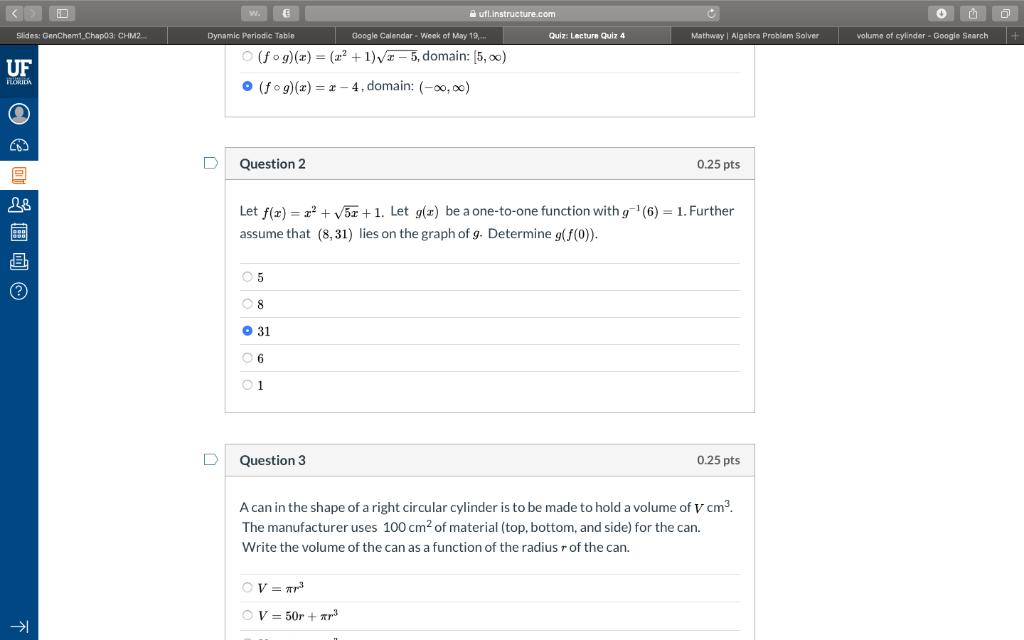 Solved: 毛 Quiz: Lecture Quiz 4 Volume Of Cylinder -Google