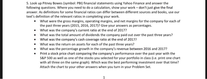 Solved 5 Look Up Pitney Bowes Symbol Pbi Financial St