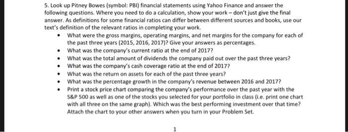 Pitney Bowes Symbol Pbi Financial