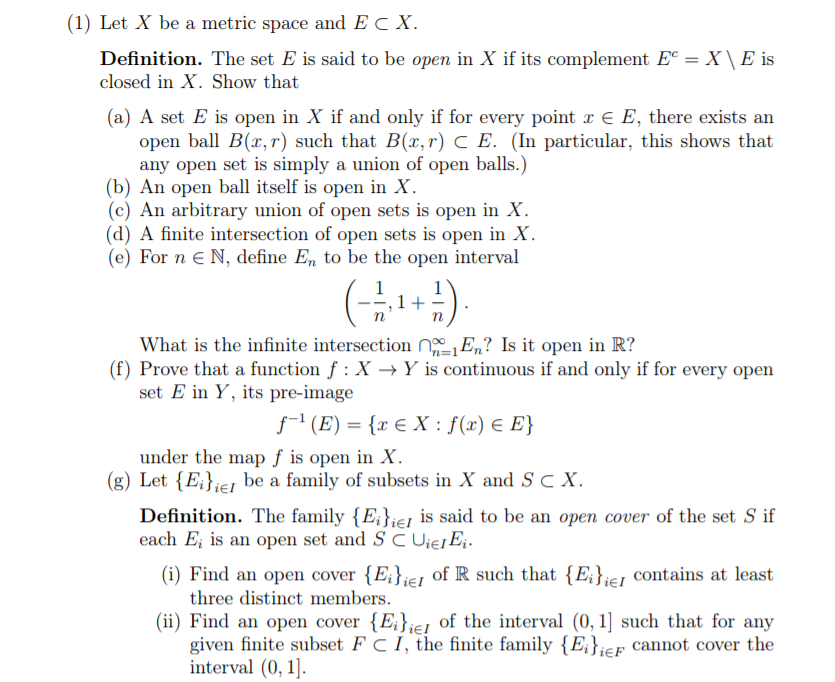 Solved: 1) Let X Be A Metric Space And E C X Definition. T... | Chegg.com