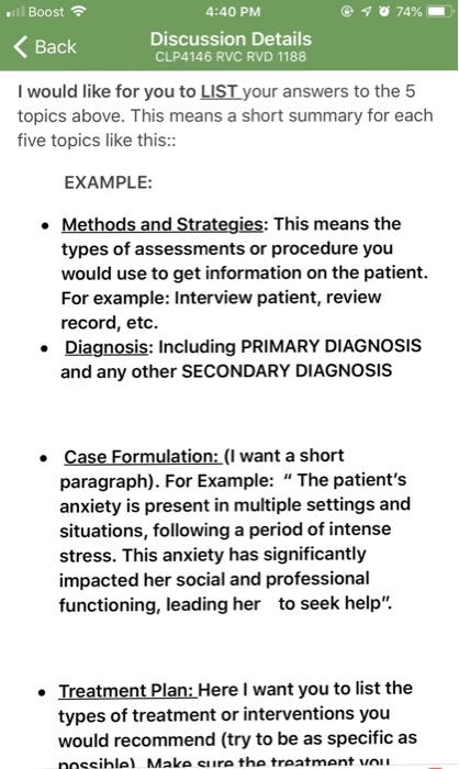 case study and treatment plan example