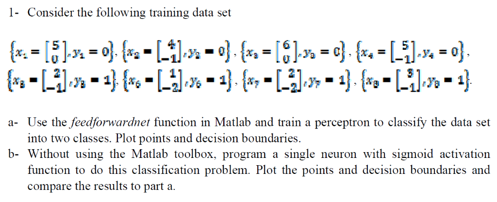 1- Consider The Following Training Data Set 0 A- U    | Chegg com