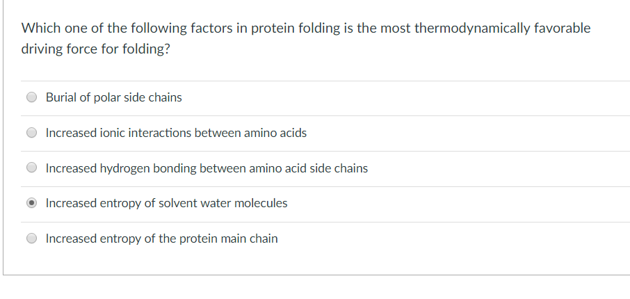 Which one of the following factors in protein folding is the most thermodynamically favorable driving force for folding? Buri