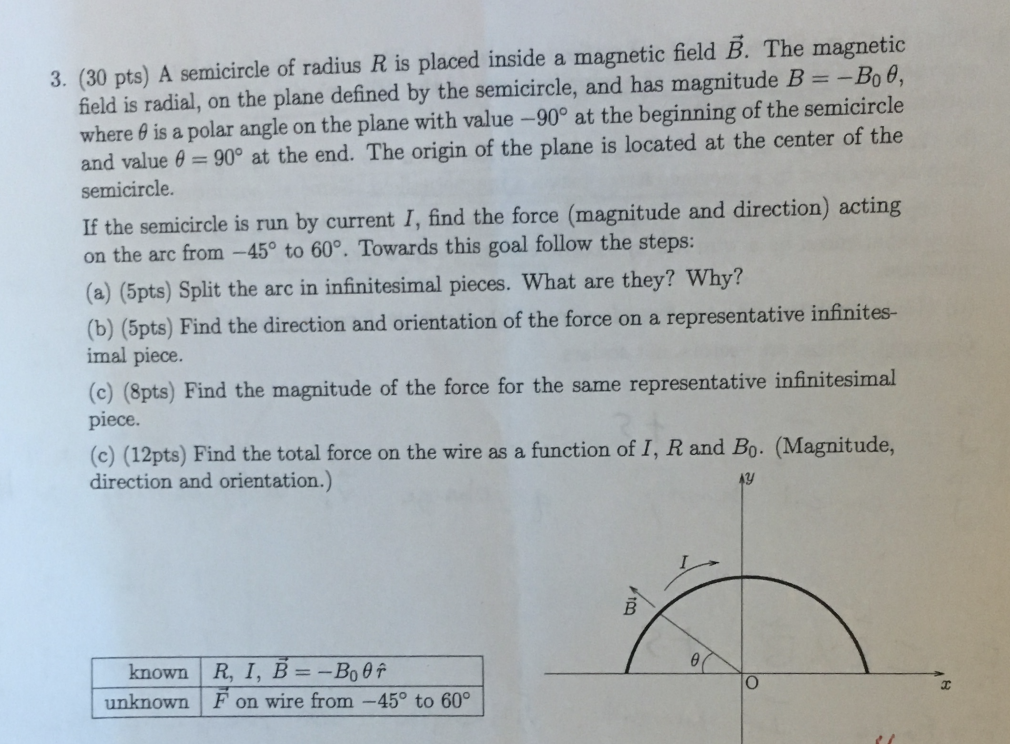 Solved: 3  (30 Pts) A Semicircle Of Radius R Is Placed Ins