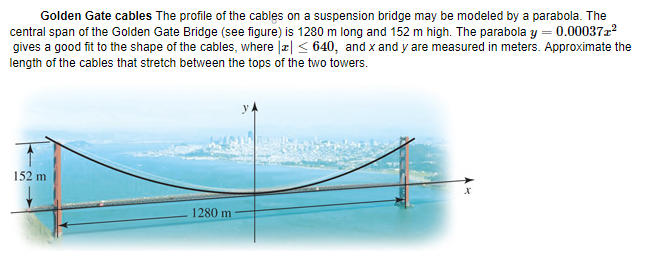 Solved: Approximate The Length Of The Golden Gate Cables