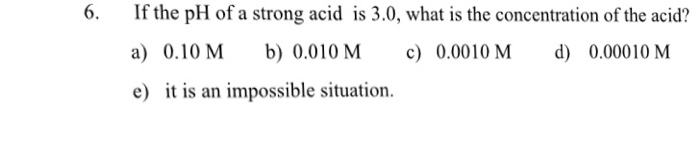 studying the ph of strong acid