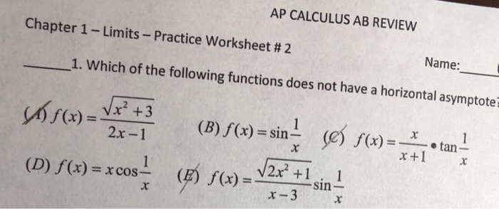 Solved: AP CALCULUS AB REVIEW Chapter 1-Limits-Practice Wo