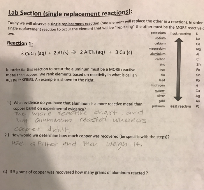 Solved Lab Section Single Replacement Reactions Llobse Chegg Com
