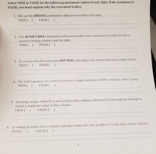 Solved: Select TRUE Or FALSE For The Following Statements
