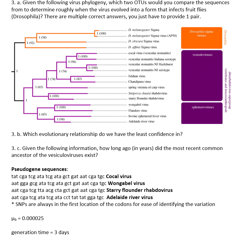 3. a. Given the following virus phylogeny, which two OTUs would you compare the sequences from to determine roughly when the