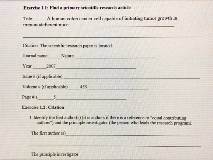 Solved Exercise 1 1 Find A Primary Scientific Research A Chegg Com