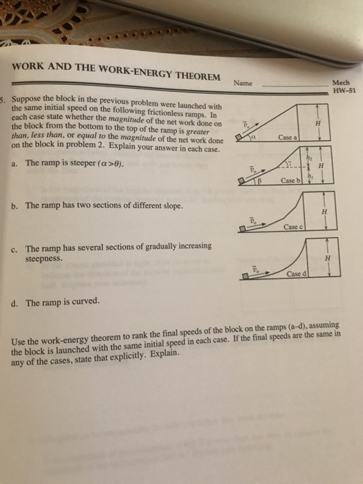 Solved Work And The Work Energy Theorem Mech Hw 47 Name L