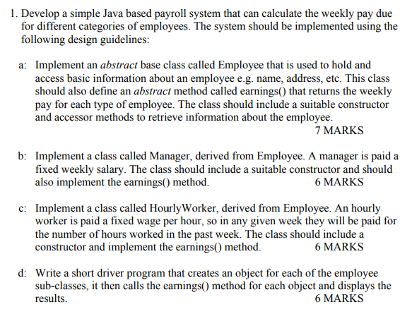 solved 1 develop a simple java based payroll system that