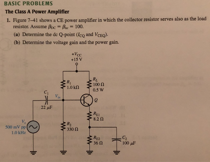 Solved: BASIC PROBLEMS The Class A Power Amplifier 1  Figu