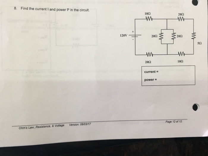 Solved: 8. Find The Current I And Power P In The Circuit 1 ...