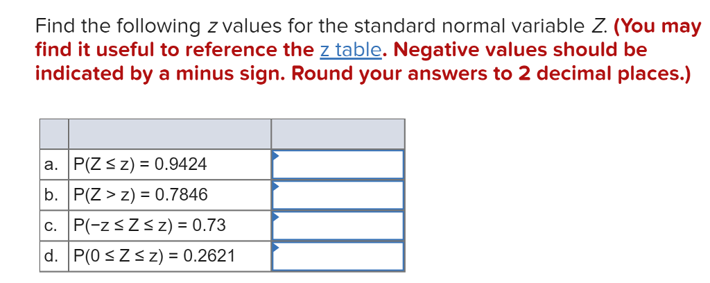 Solved: Find The Following Z Values For The Standard Norma