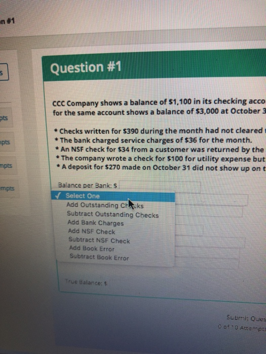 Solved: Question #1 CCC Company Shows A Balance Of $1,100
