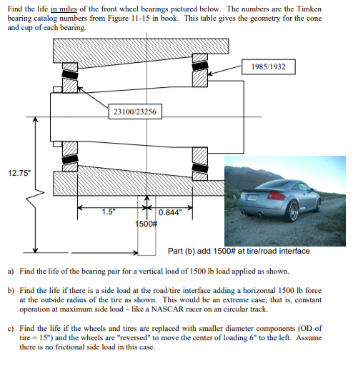 Find The Life In Miles Of The Front Wheel Bearings      Chegg com