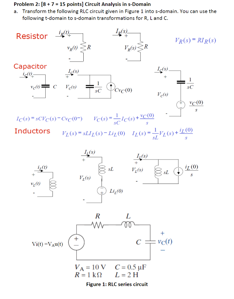Solved Problem 2 87 15 Points Circuit Analysis In S Do Domain A