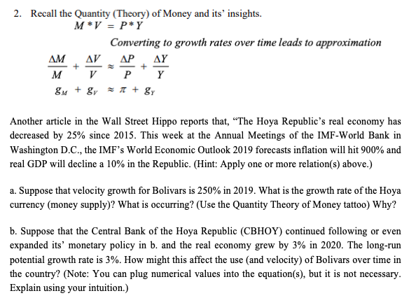 Recall The Quantity (Theory) Of Money And Its' Ins