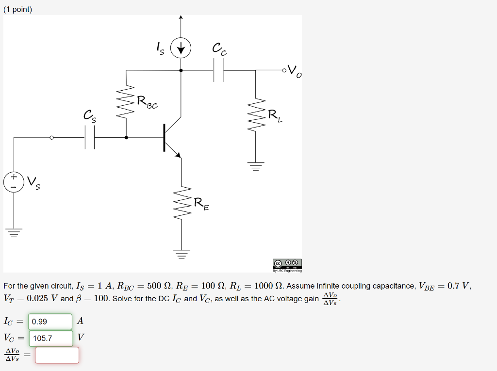 1 Point Rec Re For The Given Circuit Is 1 A Rb