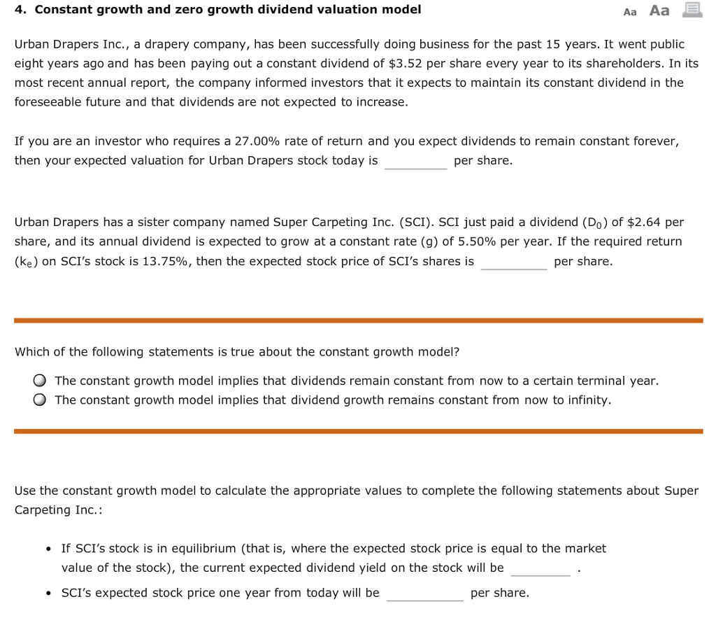 Solved: 4  Constant Growth And Zero Growth Dividend Valuat