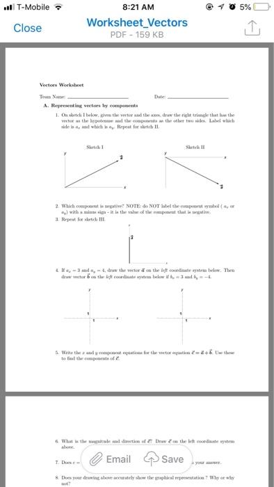Solved: T-Mobile 8:21 AM Worksheet Vectors PDF 159 KB Clos ...