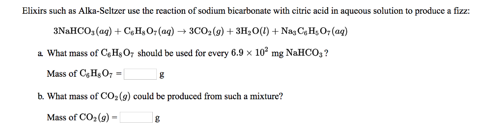 mass of sodium bicarbonate in alka seltzer
