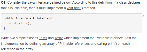Solved: Q6  Consider The Java Interface Defined Below  Acc