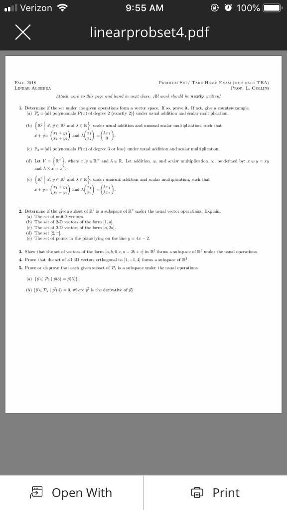 Solved: L Verizon 9:55 AM 100% Linearprobset4 pdf FALL 201