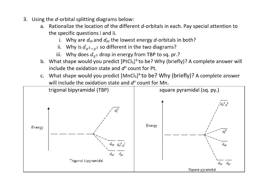 Solved 3 Using The D Orbital Splitting Diagrams Below R