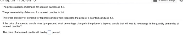 Solved The Price Elasticity Of Demand For Scented Candles