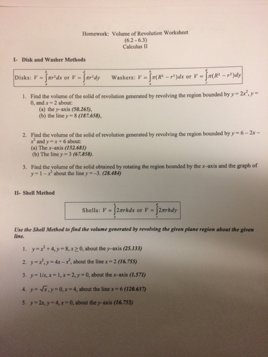Solved: Find The Volume Of The Solid Of Revolution Generat ...