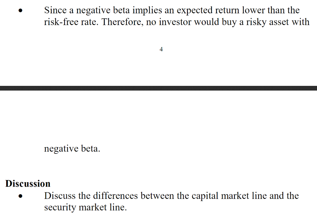 Solved: Since A Negative Beta Implies An Expected Return L