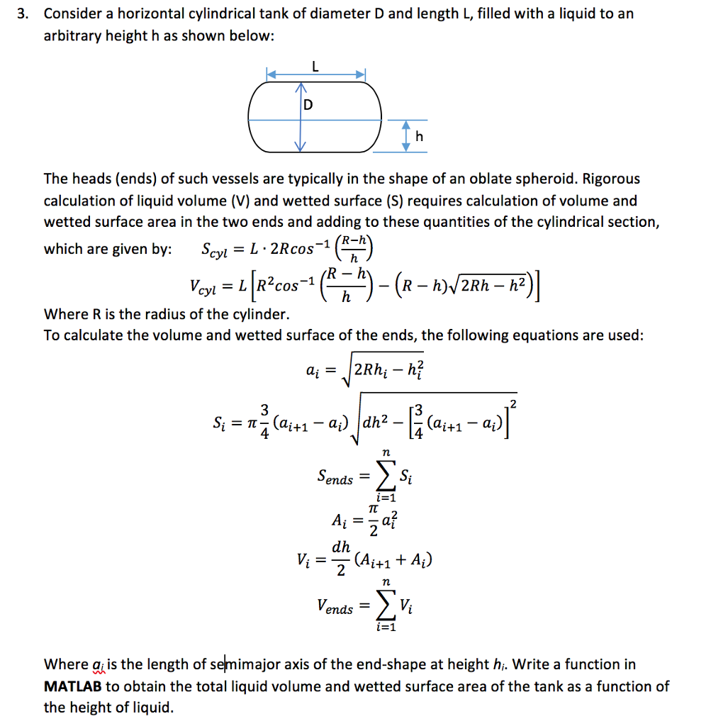 3  Consider A Horizontal Cylindrical Tank Of Diame      Chegg com