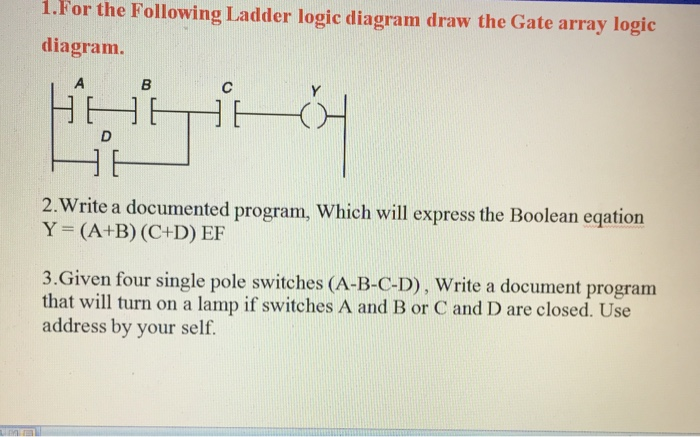 Solved for the following ladder logic diagram draw the ga i for the following ladder logic diagram draw the gate array logic diagram 2 ccuart Gallery