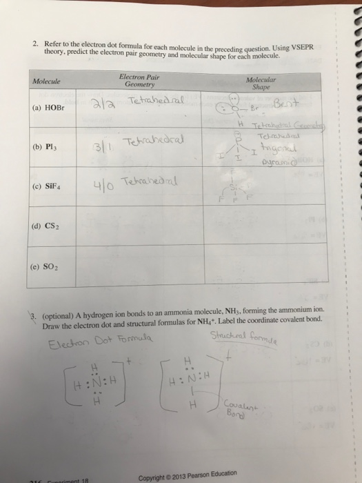Solved  Refer To The Electron Dot Formula For Each Molecul