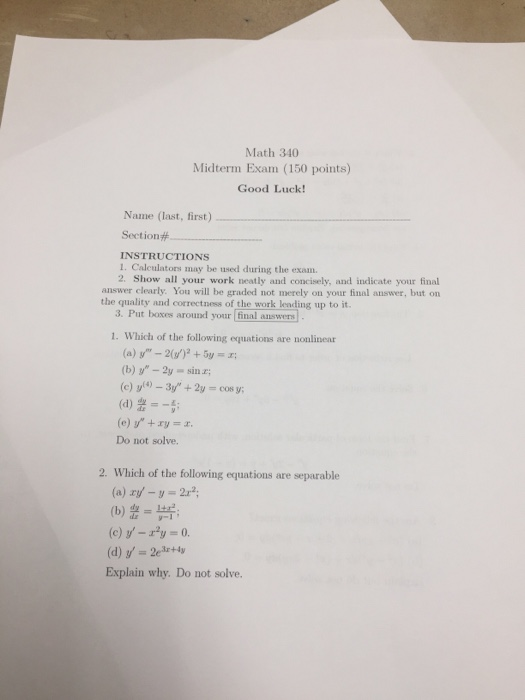Solved: Math 340 Midterm Exam (150 Points) Good Luck! Name