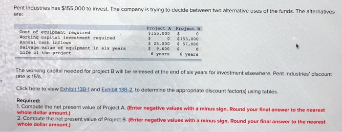 Accounting archive april 10 2018 chegg perit industries has 155000 to invest the company is trying to decide between two alternative fandeluxe Gallery