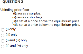 Solved Question 2 A Binding Price Floor I Causes A Surpl