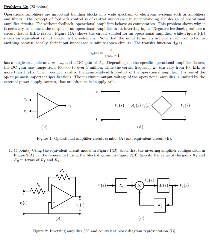 Solved: Problem 52: (25 Points) Operational Amplifiers Are... | Chegg.comChegg