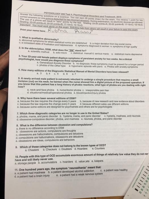 Solved: PSYCHOLOGY 200 Test 4  Psychological D Answer The