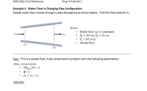 Solved: CWR 3201 Fluid Mechanics Chap 4 Prob Set 1 Example